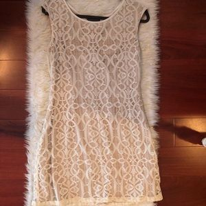 Beige lace dress over champagne lining